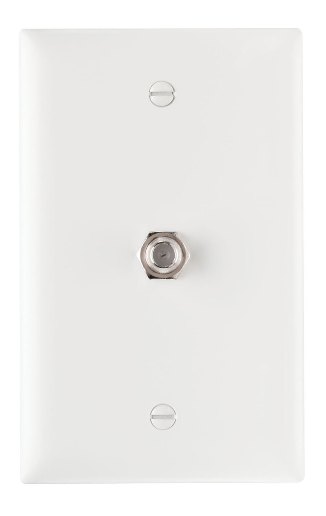 On-Q TPCATV-W 1-Gang 1-F-Coaxial Connector White Nickel Plated Steel Standard Communication Wallplate