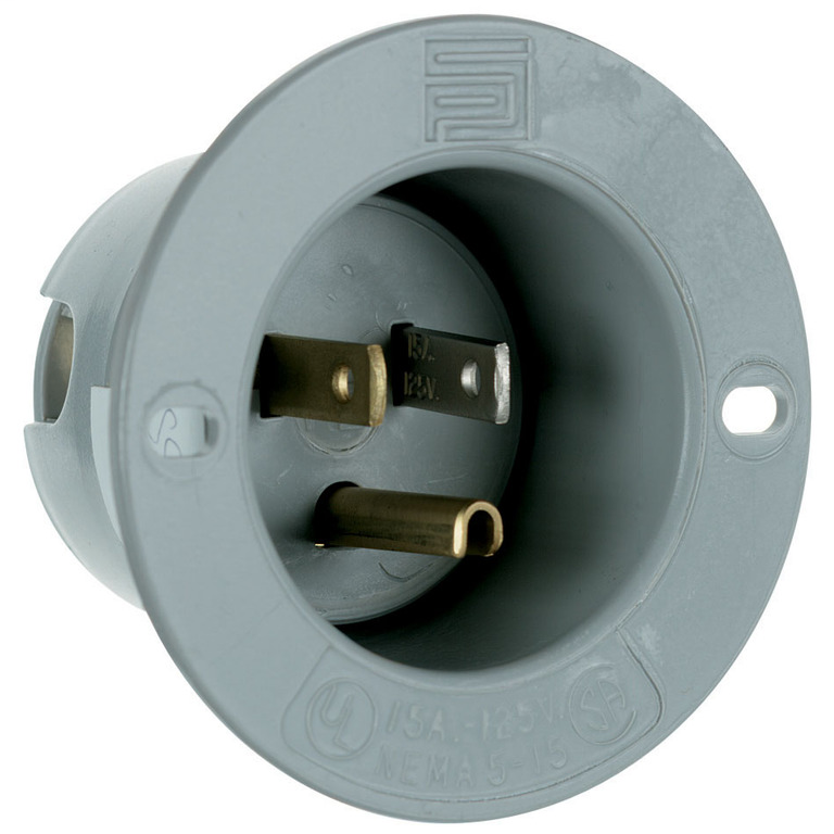 Pass & Seymour 5278-SS 15 Amp 125 Volt 2-Pole 3-Wire NEMA 5-15P Gray Thermoplastic Straight Blade Flanged Inlet