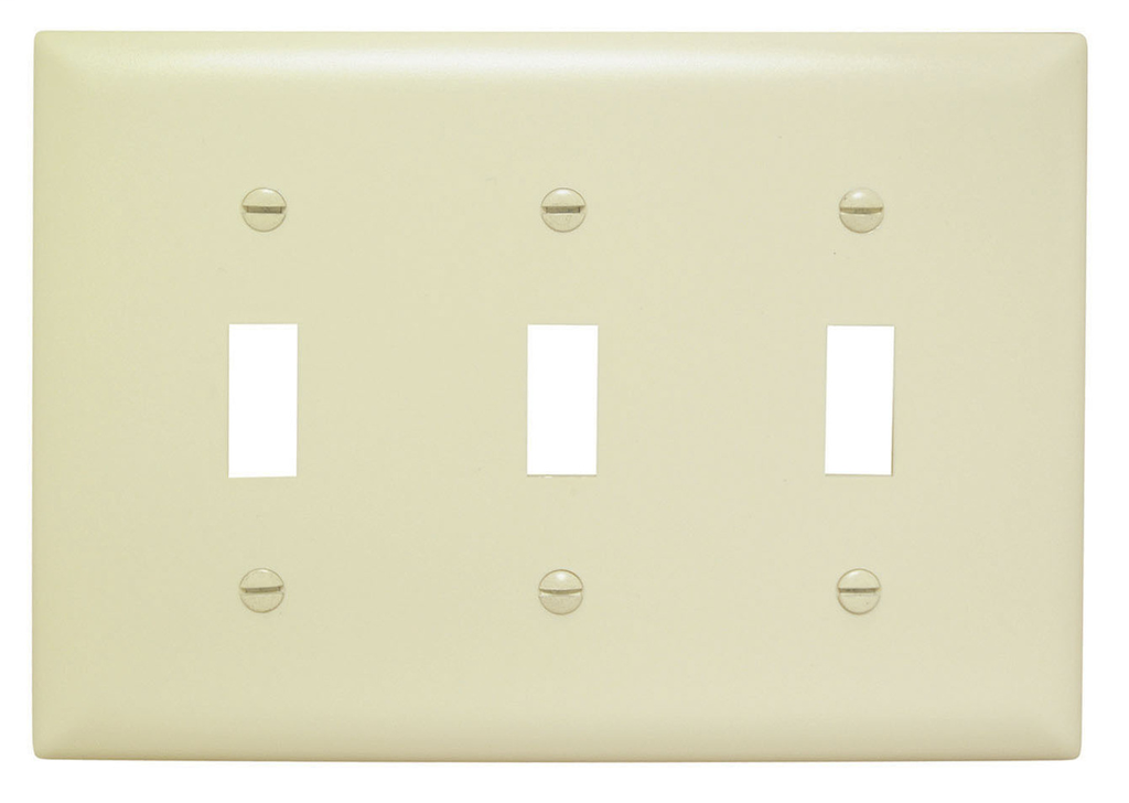 Pass & Seymour TP3-I 3-Gang 3-Toggle Switch Ivory Nylon Standard Unbreakable Wallplate