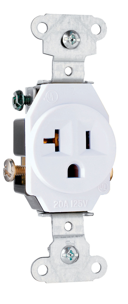 Pass & Seymour 5351-W 20 Amp 125 Vac 2-pole 3-wire Nema 5-20r White Single Receptacle