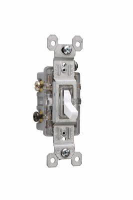 Pass & Seymour 663-WSLG 15 Amp 120 VAC 3-Way White Thermoplastic Screw Mounting Illuminated Toggle Switch