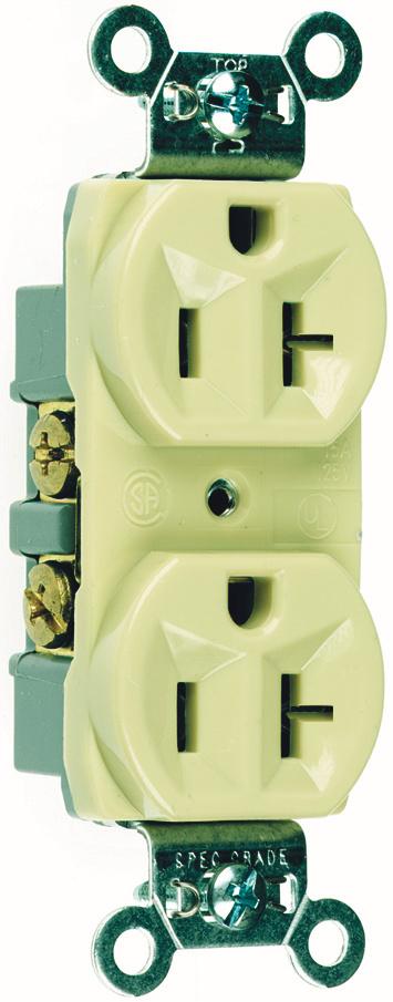 Pass & Seymour CR20-I 20 Amp 125 VAC 2-Pole 3-Wire NEMA 5-20R Ivory Nylon Face Corrosion-Resistant Duplex Receptacle