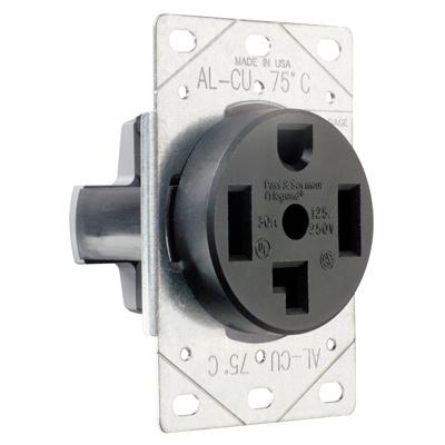 Pass & Seymour 3864 30 Amp 125/250 VAC 3-Pole 4-Wire NEMA 14-30R Single Dryer Straight Blade Power Receptacle