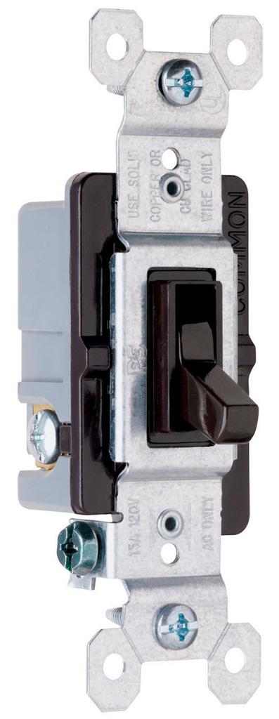 Pass & Seymour 663-G 15 Amp 120 VAC 3-Way Brown Thermoplastic Toggle Switch