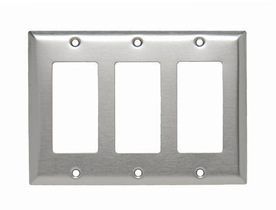 Pass & Seymour SS263 3-Gang 3-Decorator Smooth Brushed Stainless Steel Standard Wallplate