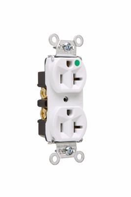 Pass & Seymour 8300-HW 20 Amp 125 VAC 2-Pole 3-Wire NEMA 5-20R White Nylon Face PVC Back Body Compact Duplex Receptacle