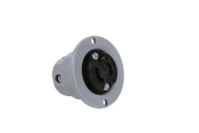 Pass & Seymour ML114 125 Volt 15 Amp 2-Pole 2-Wire NEMA 1-15R Black Face Gray Flange Locking Device Outlet