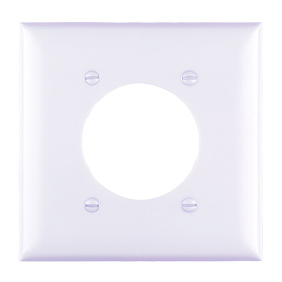Pass & Seymour TP703-W 2-Gang 1-Power Outlet Receptacle White Nylon Standard Unbreakable Wallplate