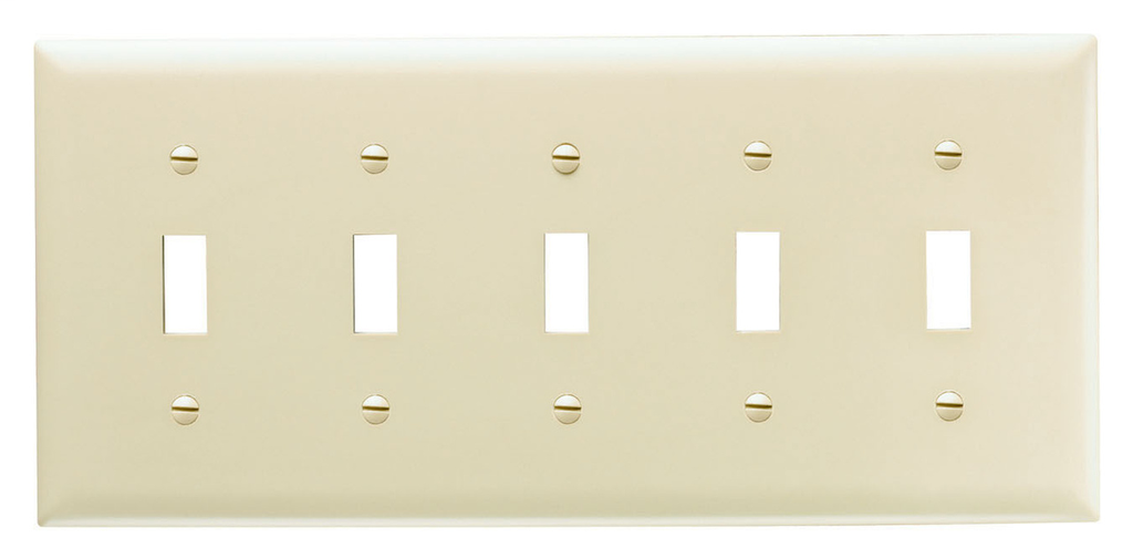 Pass & Seymour TP5-W 5-Gang 5-Toggle Switch White Nylon Standard Unbreakable Wallplate
