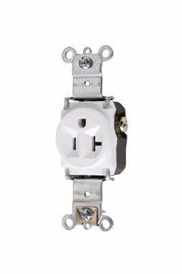 Pass & Seymour 5361-W 20 Amp 125 VAC 2-Pole 3-Wire NEMA 5-20R White Nylon Face Heavy Duty Single Receptacle