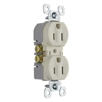 Pass & Seymour 3232-TRLA 15 Amp 125 VAC 2-Pole 3-Wire NEMA 5-15R Tamper Resistant Duplex Receptacle, Light Almond