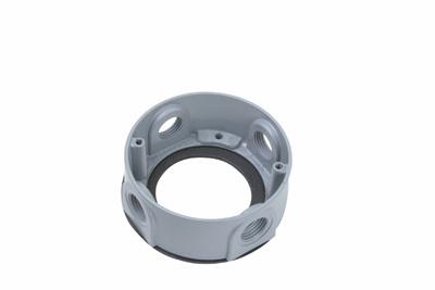 Pass & Seymour WPEX3 1/2 Inch 4-Hole Gray Weatherproof Round Box Extension