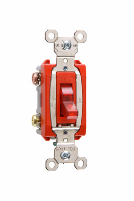 Pass & Seymour PS20AC3-RPL7 20 Amp 277 VAC 3-Way Red Glass Reinforced Nylon Screw Mounting Pilot Lighted Toggle Switch