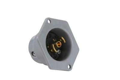 Pass & Seymour ML215 2.06 x 1.13 Inch 125 VAC 15 Amp 2-Pole 3-Wire Black/Gray Midget Lock Flanged Inlet