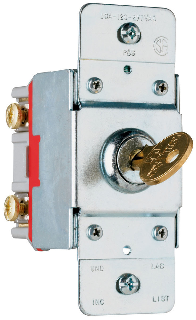 Pass & Seymour PS20AC1-KL 20 Amp 120/277 VAC 1-Pole Back and Side Wire Screw Mount Lock Switch