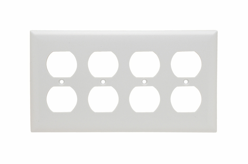 Pass & Seymour SP84-W 4-Gang 4-Duplex White Smooth Thermoset Plastic Standard Wallplate