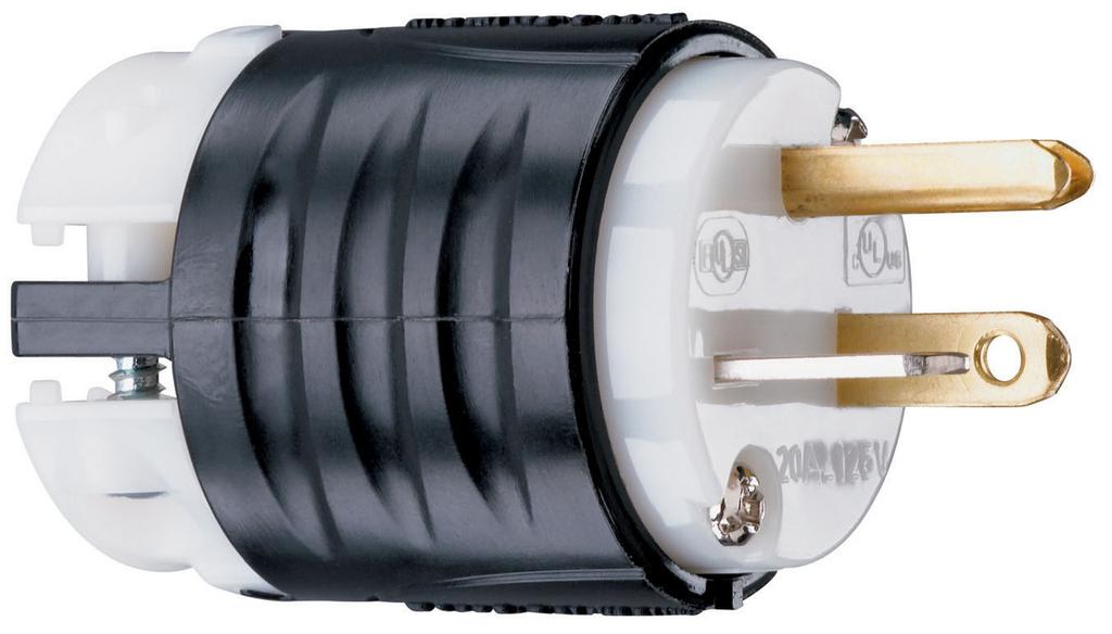 Pass & Seymour PS5366-X 20 Amp 125 VAC 2-Pole 3-Wire NEMA 5-20P Black and White Nylon Angled Polarized Straight Blade Plug