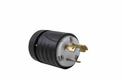 Pass & Seymour L1030-P 30 Amp 125/250 VAC 3-Pole 3-Wire NEMA L10-30P Black and White Nylon Straight Locking Plug