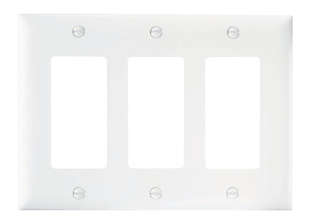 Wattstopper TP263-W 3-Gang 3-Decorator White Nylon Standard Unbreakable Wallplate