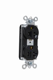 Pass & Seymour PT5362-BK 20 Amp 125 VAC 2-Pole 3-Wire NEMA 5-20R Black Nylon Face PVC Back Body Duplex Receptacle