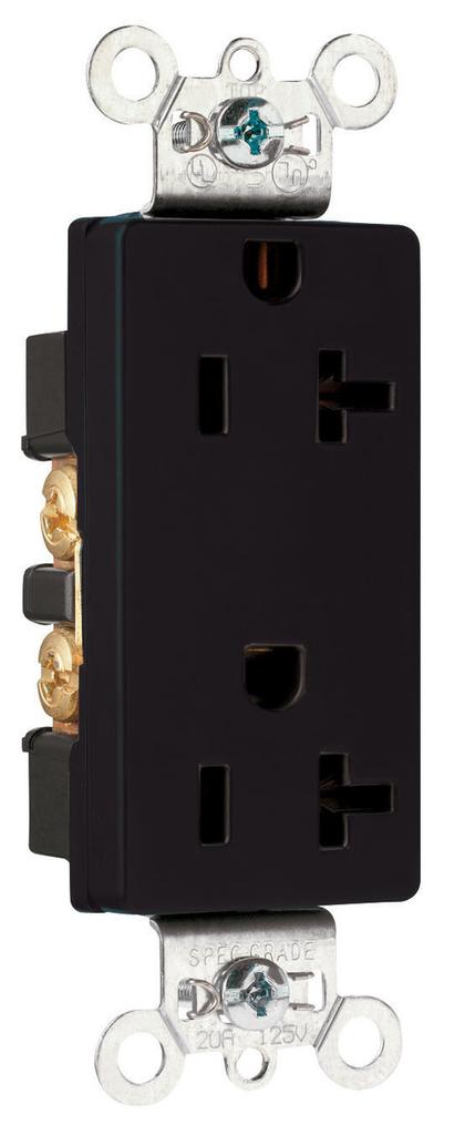 Pass & Seymour 26352-BK 20 Amp 125 VAC 2-Pole 3-Wire NEMA 5-20R Black Nylon Face Heavy Duty Duplex Decorator Receptacle