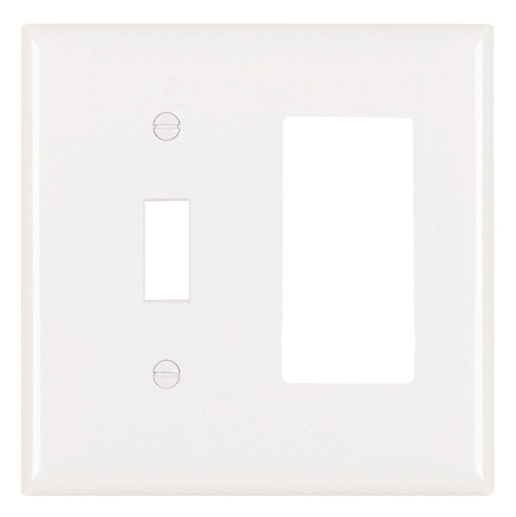 Pass & Seymour TP126-W 2-Gang 1-Toggle Switch 1-Decorator White Nylon Standard Combination Unbreakable Wallplate