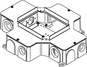 Wiremold RFB4-CI-1 14-1/2 x 11-7/8 x 3-7/16 Inch Cast Iron Recessed Floor Box