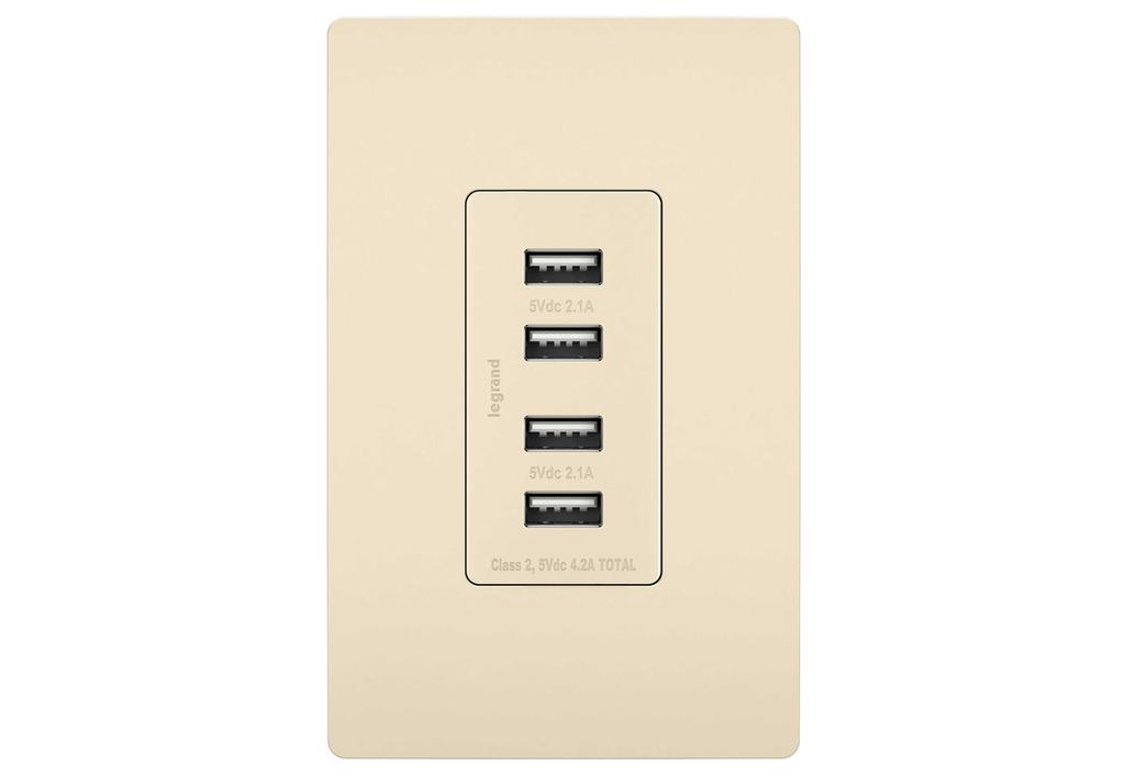 Pass & Seymour TM8USB4-LACC6 125 Volt 5 VDC 4.2 Amp 4-Port 1.693 x 1.33 x 3.281 Inch Light Almond Decorator Quad USB Charger