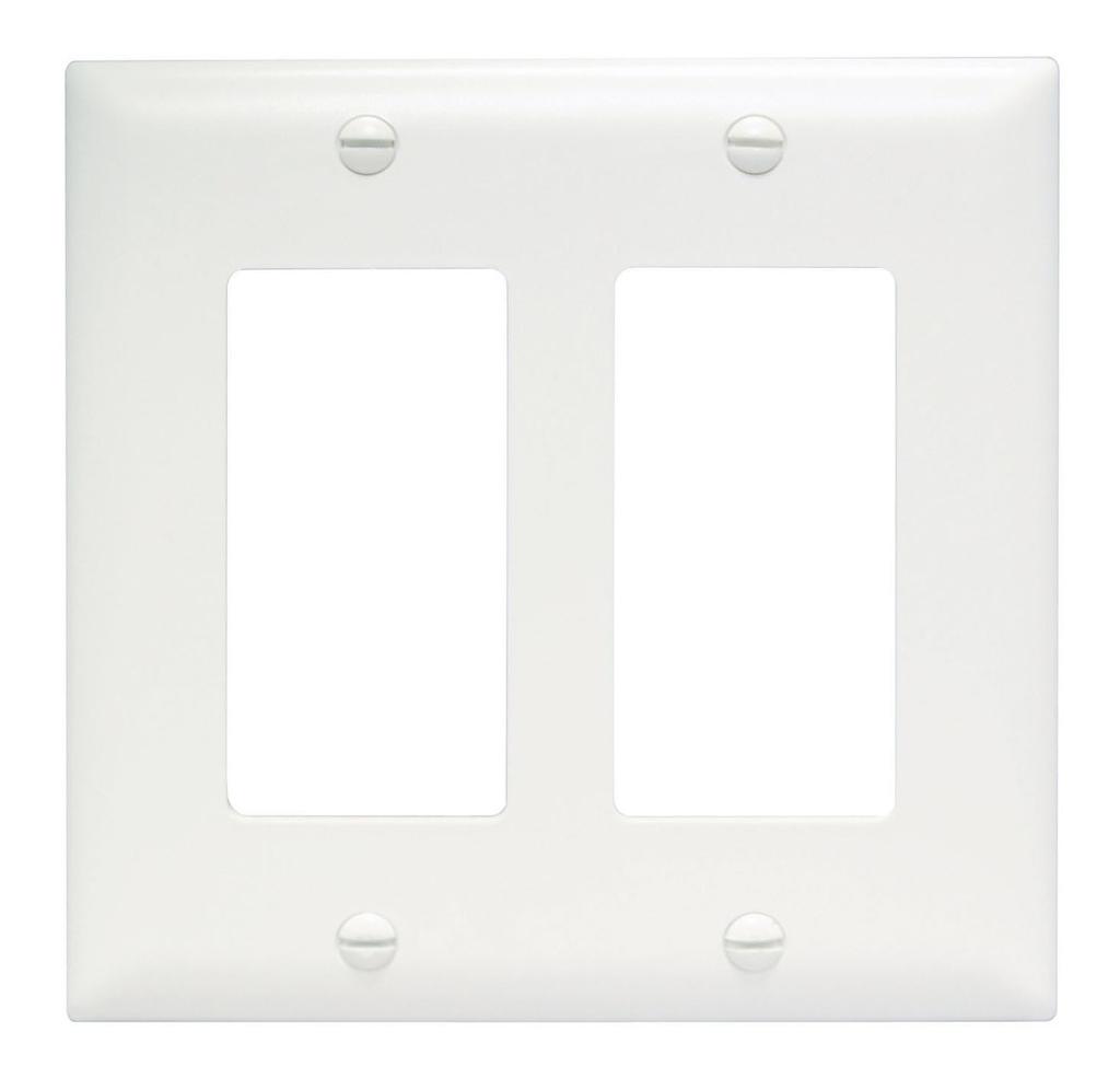 Pass & Seymour TP262-W 2-Gang 2-Decorator White Nylon Standard Unbreakable Wallplate