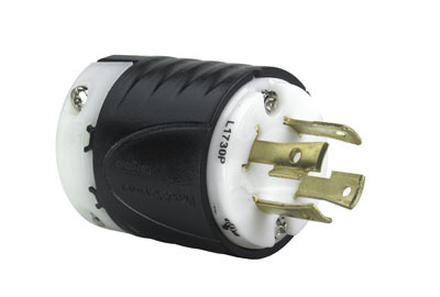 Pass & Seymour L1730-P 30 Amp 600 VAC 3-Phase 3-Pole 4-Wire NEMA L17-30P Black and White Nylon Straight Locking Plug