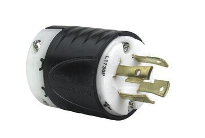 Pass & Seymour L1730-P 30 Amp 600 VAC 3-Phase 3-Pole 4-Wire NEMA L17-30P Black and White Nylon Straight Locking Plug