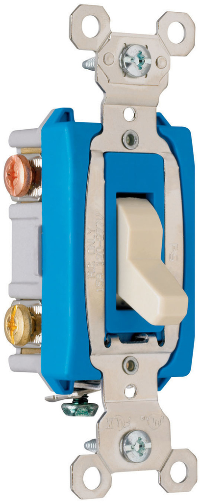 Pass & Seymour PS15AC3-ISL 15 Amp 120/277 VAC 3-Way Ivory Glass Reinforced Nylon Screw Mounting Lighted Toggle Switch