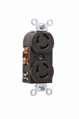 Pass & Seymour 7580-G 15 Amp at 125 Volt 10 Amp at 250 Volt 3-Wire Non-NEMA Nylon Locking Duplex Receptacle