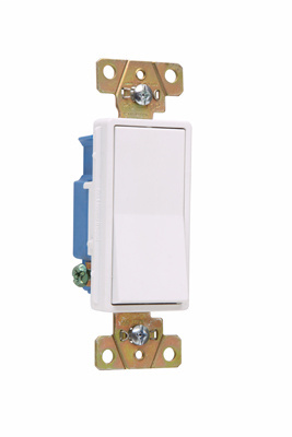 Pass & Seymour 2601-W 15 Amp 120/277 VAC 1-Pole White Polycarbonate Screw Mounting Rocker Decorator Switch