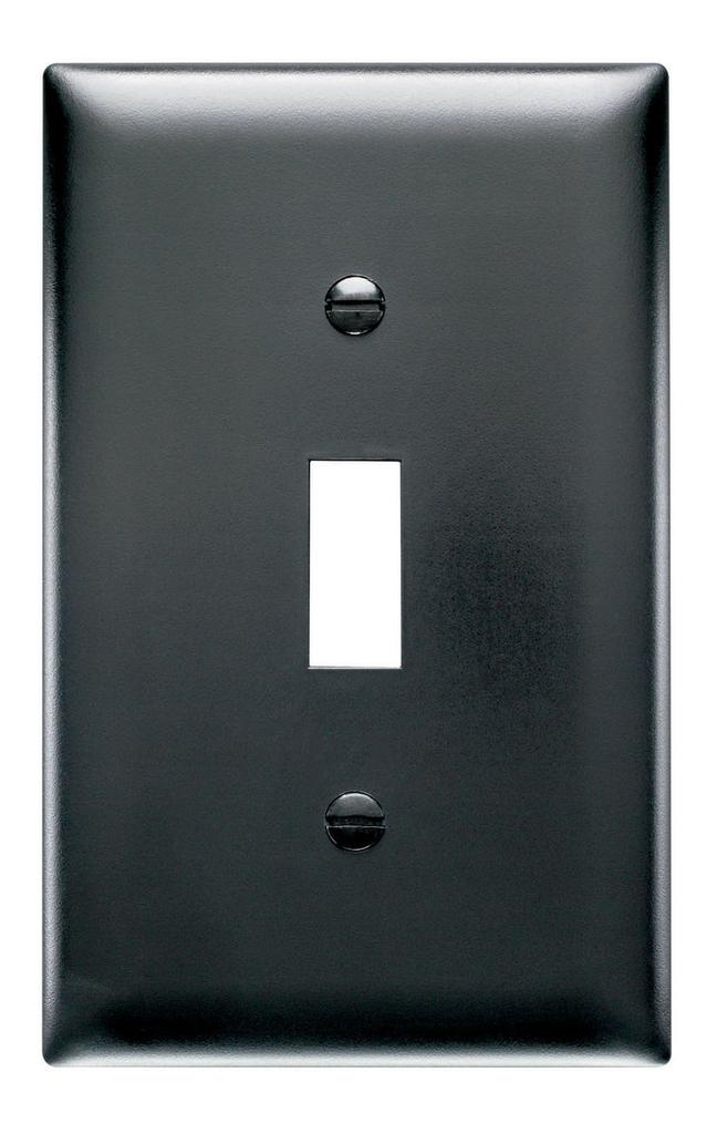 Pass & Seymour TP1-BK 1-Gang 1-Toggle Switch Black Nylon Standard Unbreakable Wallplate