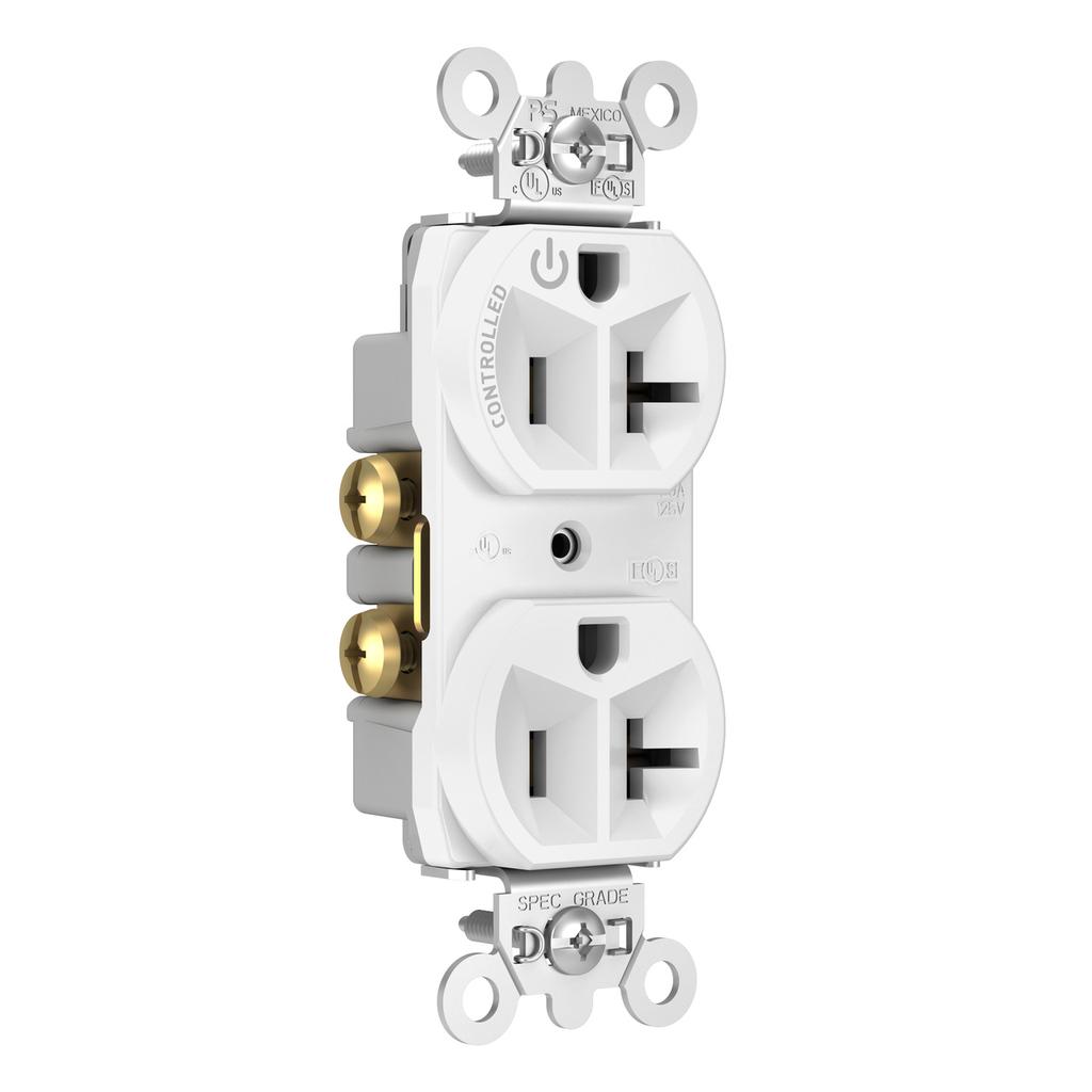 Pass & Seymour 5362CH-W 20 Amp 125 VAC 2-Pole 3-Wire NEMA 5-20R White Nylon Half Controlled Duplex Receptacle