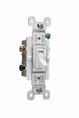 Pass & Seymour 663-WG 15 Amp 120 VAC 3-Way White Thermoplastic Toggle Switch