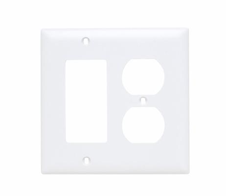 Pass & Seymour TP826-W 2-Gang 1-Duplex Receptacle 1-Decorator White Nylon Standard Combination Unbreakable Wallplate
