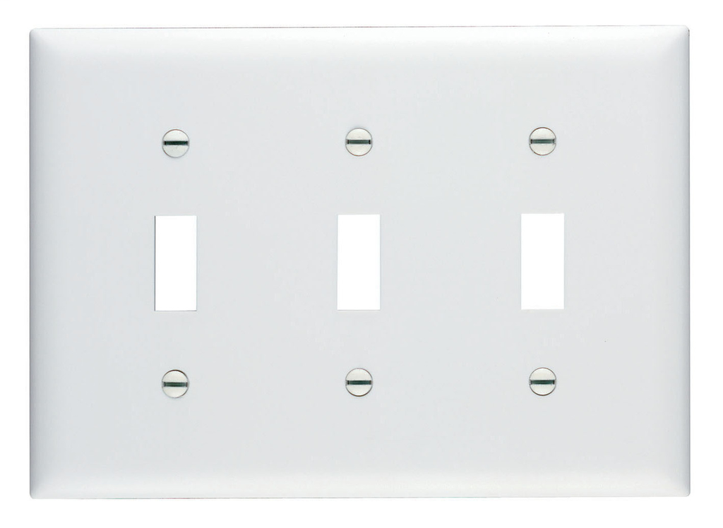 Pass & Seymour TP3-W 3-Gang 3-Toggle Switch White Nylon Standard Unbreakable Wallplate