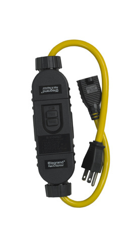 Pass & Seymour 1594-PC2A 15 Amp 125 VAC NEMA 5-15P/R Black Durable Polycarbonate Automatic Reset Portable Cord