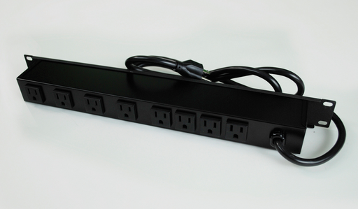 Plug-In Outlet Center Unit / Rack Mount 120V/15A/8 rear O/L /lighted switch/15' cord/Computer Grade Surge