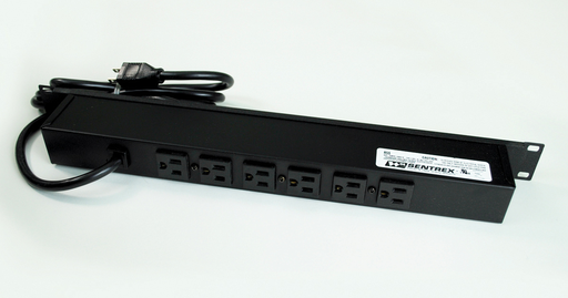 Plug-In Outlet Center Unit / Rack Mount 120V/15A/6 rear O/L /lighted switch/6' cord/Premium Grade Surge