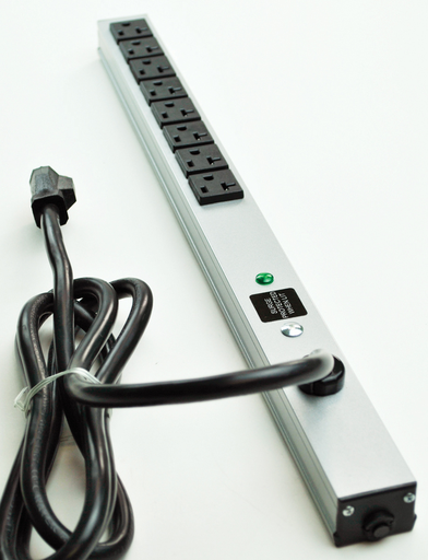 """CabinetMate Plug-In Outlet Center Unit / 120V/20A / 20"""""""" long / 8 O/L / 15' cord / Computer Grade Surge"""