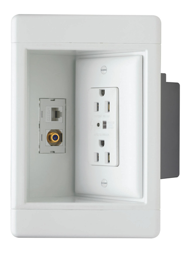 Single-Gang Recessed TV Box w/ Surge Protective & Low-Voltage Kit, White
