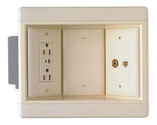 Three-Gang Recessed TV Box Kit, Light Almond