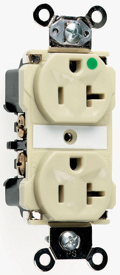 Mayer-Extra Heavy-Duty Hospital Grade Receptacles, Back & Side Wire, 20A, 125V, Ivory-1