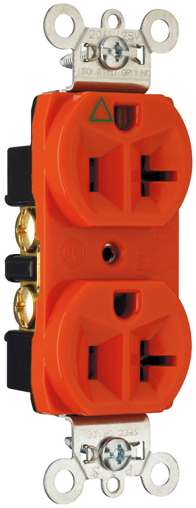 Mayer-Isolated Ground Heavy-Duty Spec Grade Receptacles, Back & Side Wire, 20A, 125V, Red-1