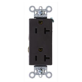 Mayer-Heavy-Duty Decorator Spec Grade Receptacles, Side Wire, 20A, 125V, Brown-1