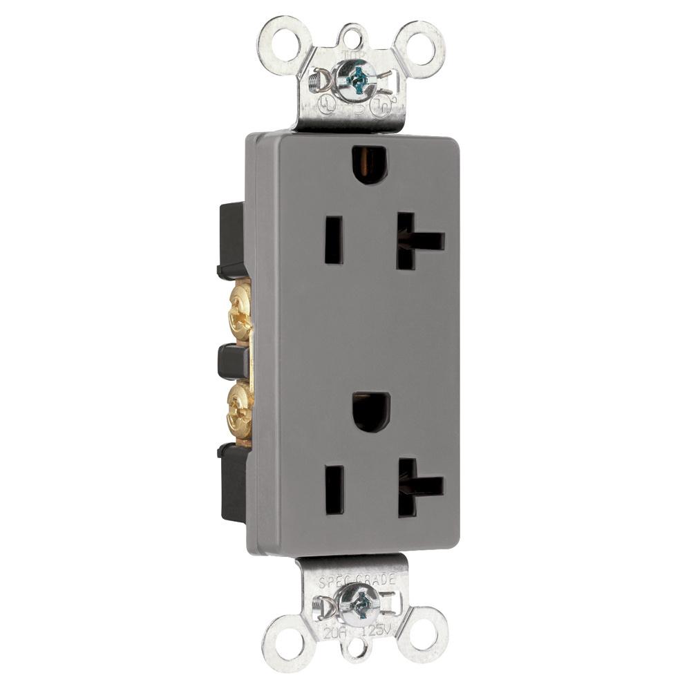 Mayer-Heavy-Duty Decorator Spec Grade Receptacles, Back & Side Wire, 20A, 125V, Gray-1