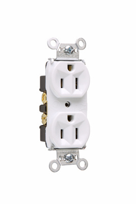 Mayer-Hard Use Spec Grade Receptacle, Back & Side Wire, 15A, 125V, White-1